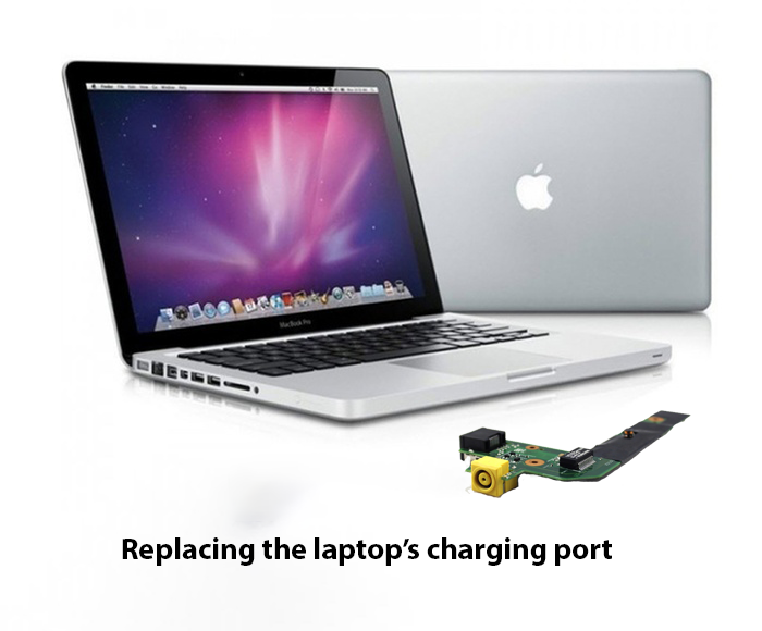 Replacing the laptop charging port