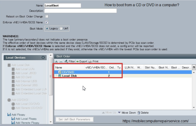 How to boot from a CD or DVD in a computer?